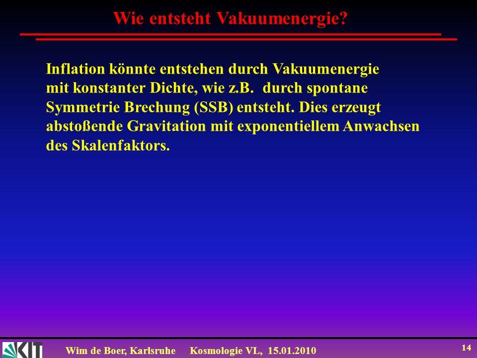Wim de Boer, KarlsruheKosmologie VL, 15.01.2010 14 Wie entsteht Vakuumenergie? Inflation könnte entstehen durch Vakuumenergie mit konstanter Dichte, w