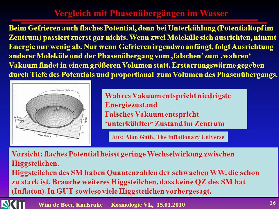 Wim de Boer, KarlsruheKosmologie VL, 15.01.2010 26 Beim Gefrieren auch flaches Potential, denn bei Unterkühlung (Potentialtopf im Zentrum) passiert zu