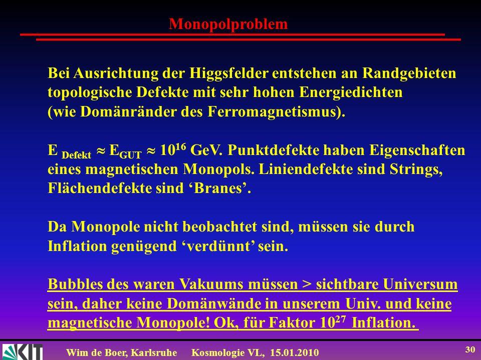 Wim de Boer, KarlsruheKosmologie VL, 15.01.2010 30 Monopolproblem Bei Ausrichtung der Higgsfelder entstehen an Randgebieten topologische Defekte mit s