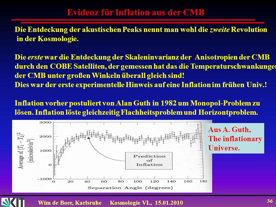 Wim de Boer, KarlsruheKosmologie VL, 15.01.2010 36 Die Entdeckung der akustischen Peaks nennt man wohl die zweite Revolution in der Kosmologie. Die er