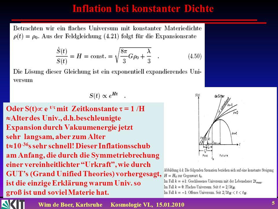 Wim de Boer, KarlsruheKosmologie VL, 15.01.2010 26 Beim Gefrieren auch flaches Potential, denn bei Unterkühlung (Potentialtopf im Zentrum) passiert zuerst gar nichts.