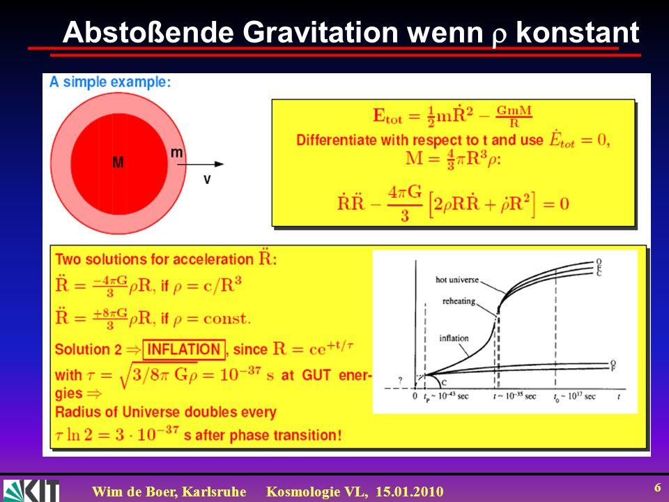 Wim de Boer, KarlsruheKosmologie VL, 15.01.2010 27 Energieerhaltung aus Friedmann Gl.