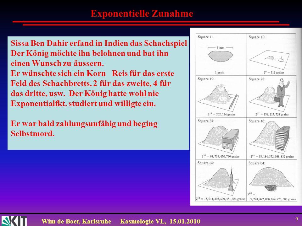 Wim de Boer, KarlsruheKosmologie VL, 15.01.2010 28 p<0 p=0 The ultimate free lunch Bubbles des echten Vakuums expandieren und füllen den Raum, während das falsche Vakuum mit negativer Druck zerfällt.