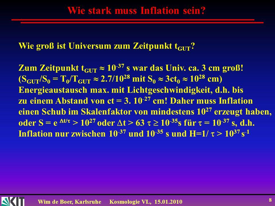 Wim de Boer, KarlsruheKosmologie VL, 15.01.2010 8 Wie stark muss Inflation sein? Wie groß ist Universum zum Zeitpunkt t GUT ? Zum Zeitpunkt t GUT 10 -