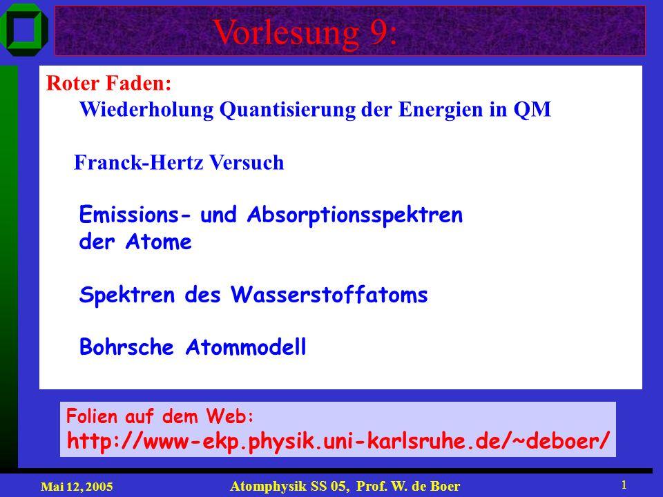 Mai 12, 2005 Atomphysik SS 05, Prof. W. de Boer 1 Vorlesung 9: Roter Faden: Wiederholung Quantisierung der Energien in QM Franck-Hertz Versuch Emissio