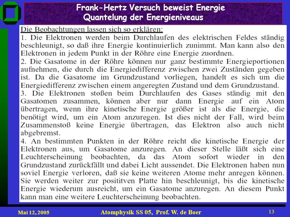 Mai 12, 2005 Atomphysik SS 05, Prof. W. de Boer 13 Frank-Hertz Versuch beweist Energie Quantelung der Energieniveaus