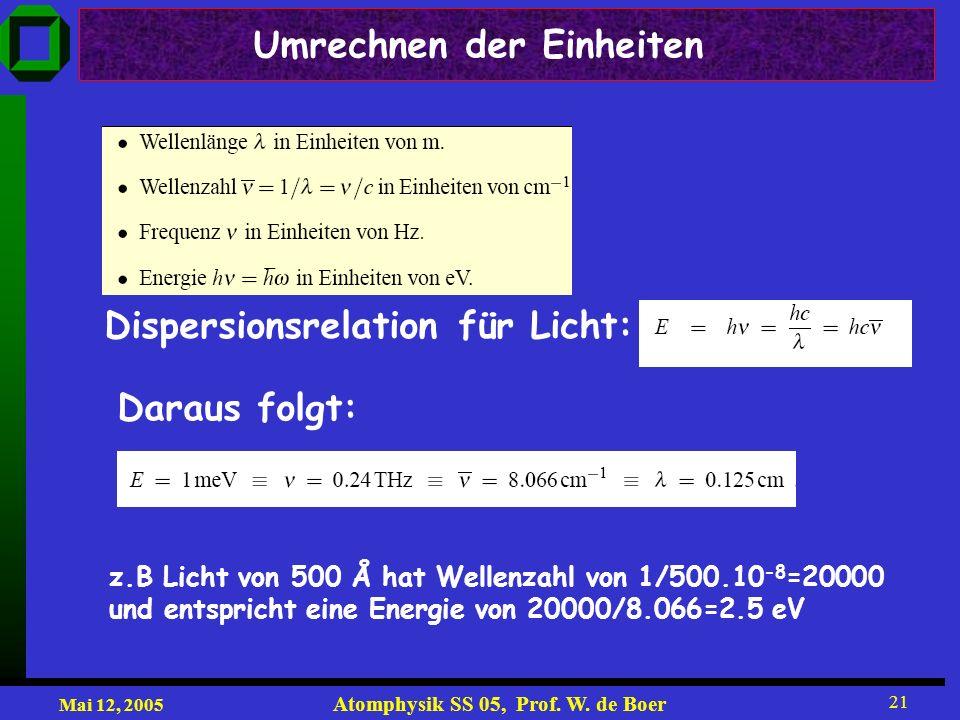 Mai 12, 2005 Atomphysik SS 05, Prof. W. de Boer 21 Umrechnen der Einheiten Dispersionsrelation für Licht: Daraus folgt: z.B Licht von 500 Å hat Wellen