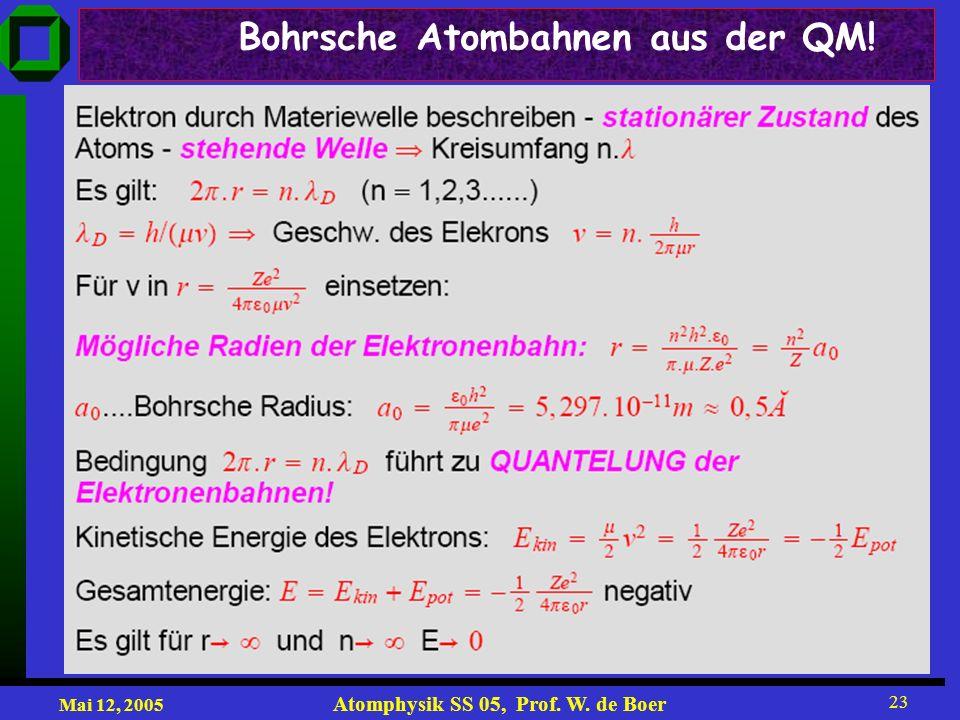 Mai 12, 2005 Atomphysik SS 05, Prof. W. de Boer 23 Bohrsche Atombahnen aus der QM!