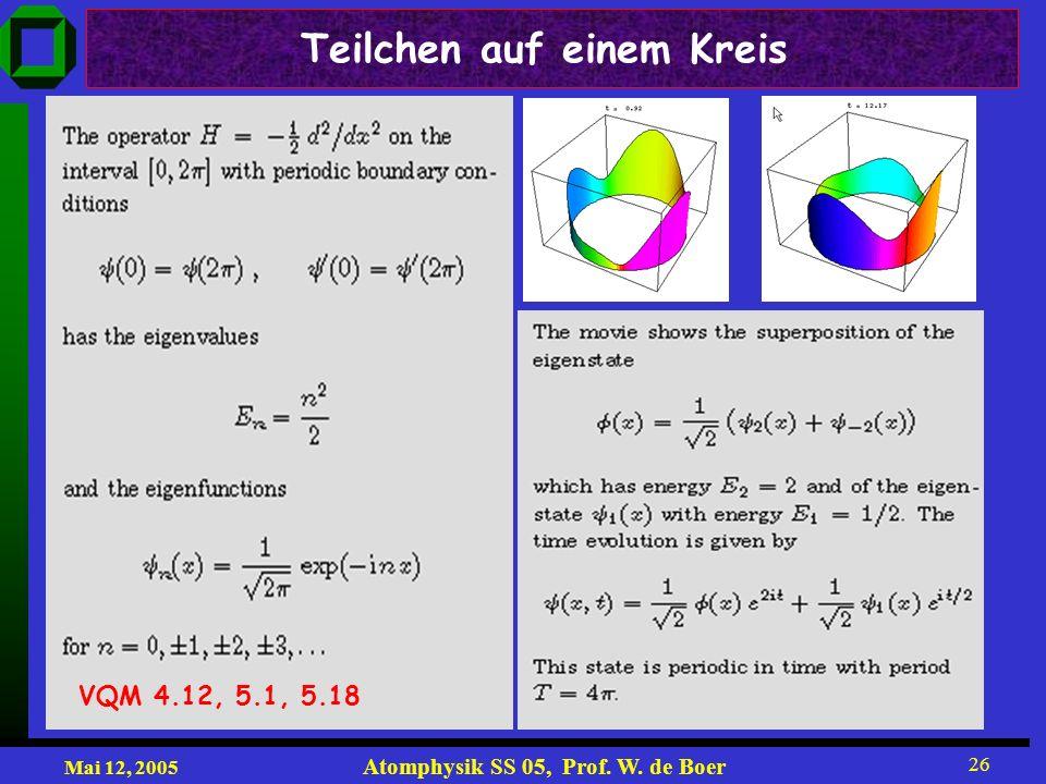 Mai 12, 2005 Atomphysik SS 05, Prof. W. de Boer 26 Teilchen auf einem Kreis VQM 4.12, 5.1, 5.18