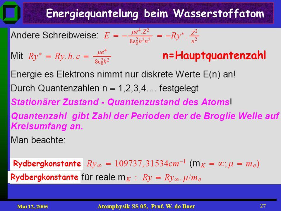Mai 12, 2005 Atomphysik SS 05, Prof. W. de Boer 27 Energiequantelung beim Wasserstoffatom n=Hauptquantenzahl Rydbergkonstante