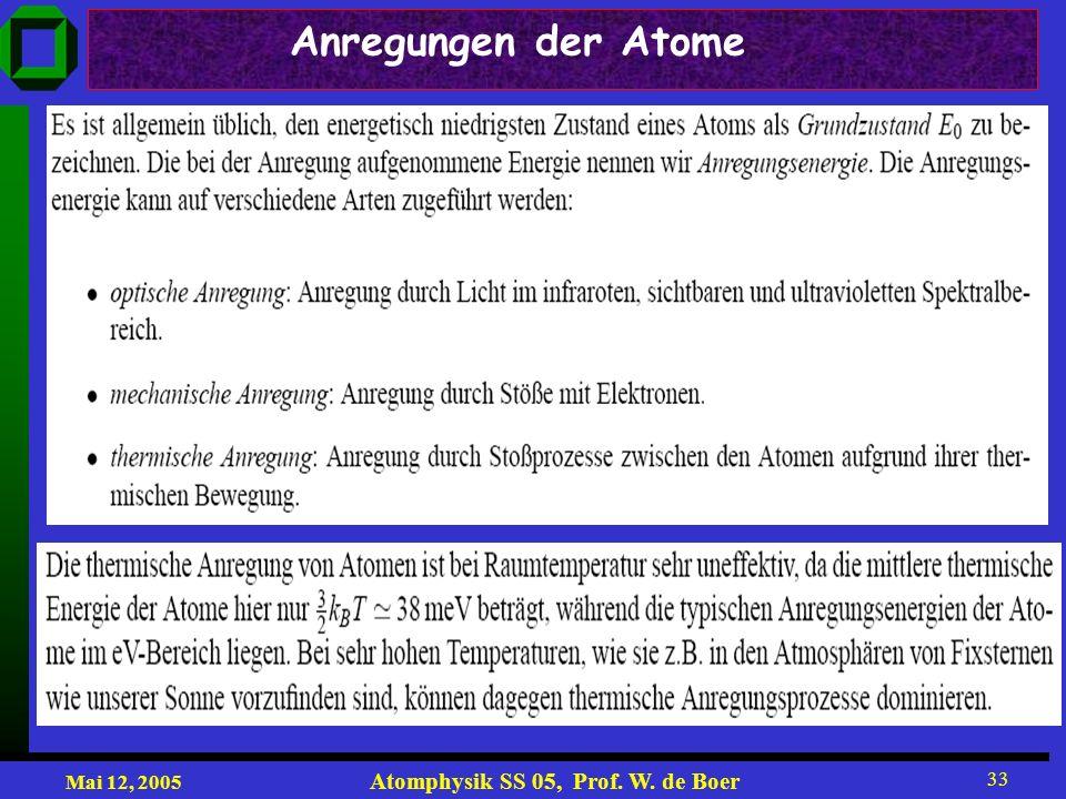 Mai 12, 2005 Atomphysik SS 05, Prof. W. de Boer 33 Anregungen der Atome