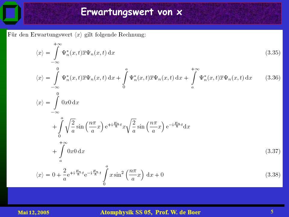 Mai 12, 2005 Atomphysik SS 05, Prof. W. de Boer 5 Erwartungswert von x