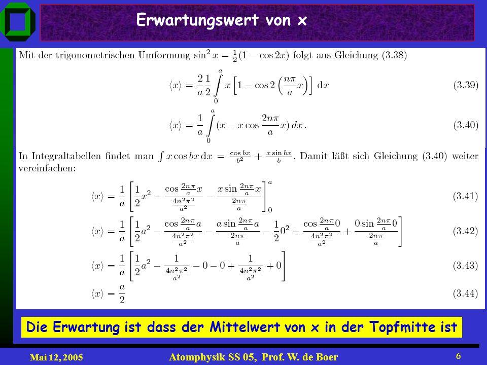 Mai 12, 2005 Atomphysik SS 05, Prof. W. de Boer 6 Die Erwartung ist dass der Mittelwert von x in der Topfmitte ist Erwartungswert von x