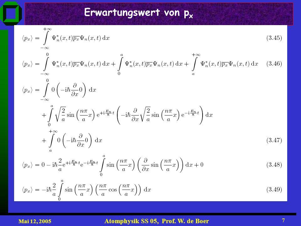 Mai 12, 2005 Atomphysik SS 05, Prof. W. de Boer 28 Erklärung der Spektren im Bohrschen Modell