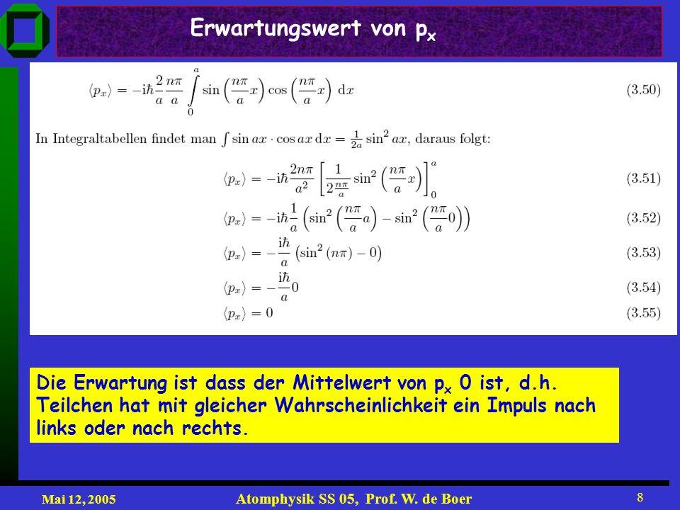 Mai 12, 2005 Atomphysik SS 05, Prof. W. de Boer 8 Die Erwartung ist dass der Mittelwert von p x 0 ist, d.h. Teilchen hat mit gleicher Wahrscheinlichke