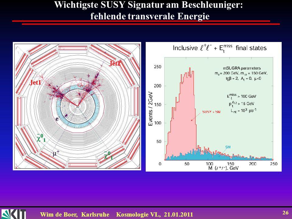 Wim de Boer, KarlsruheKosmologie VL, 21.01.2011 26 Wichtigste SUSY Signatur am Beschleuniger: fehlende transverale Energie