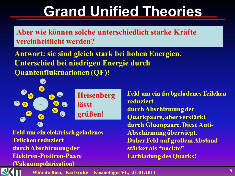 Wim de Boer, KarlsruheKosmologie VL, 21.01.2011 9 Grand Unified Theories Aber wie können solche unterschiedlich starke Kräfte vereinheitlicht werden?