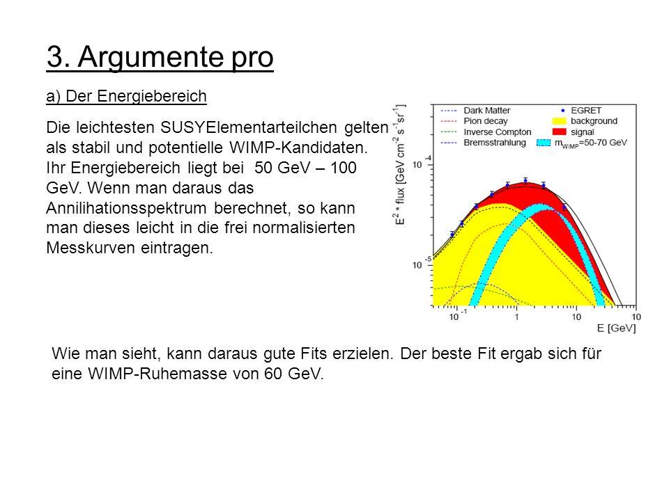3. Argumente pro a) Der Energiebereich Die leichtesten SUSYElementarteilchen gelten als stabil und potentielle WIMP-Kandidaten. Ihr Energiebereich lie