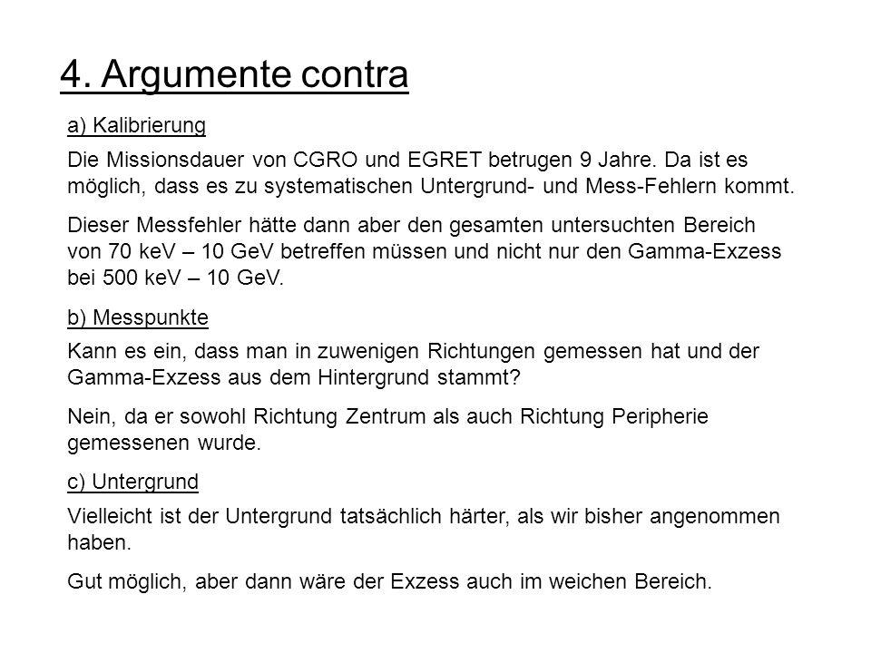 4. Argumente contra a) Kalibrierung Die Missionsdauer von CGRO und EGRET betrugen 9 Jahre. Da ist es möglich, dass es zu systematischen Untergrund- un