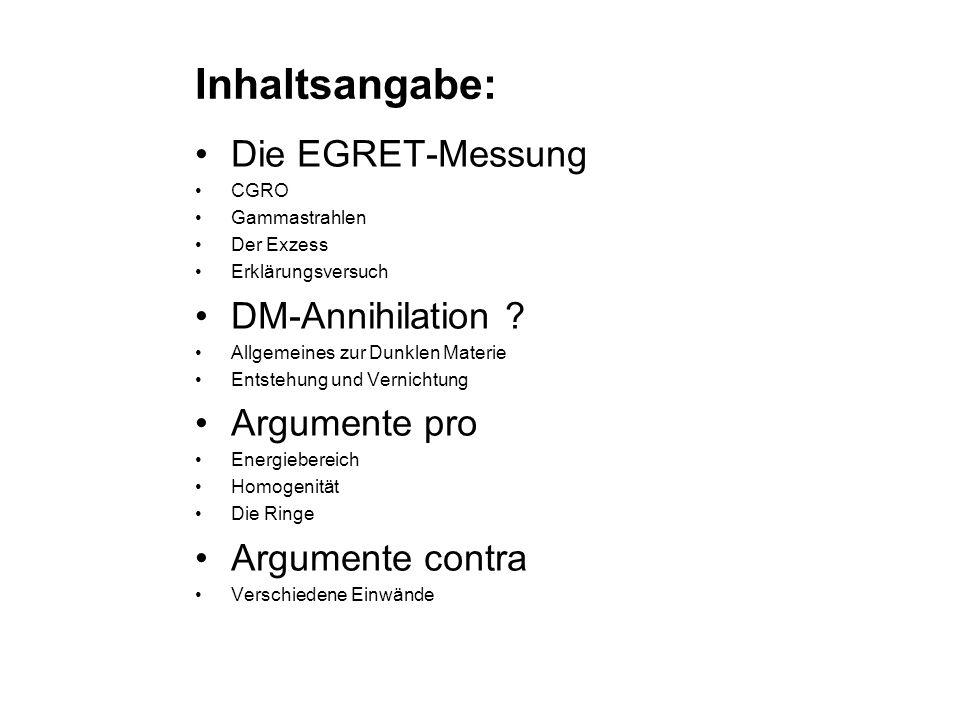 Inhaltsangabe: Die EGRET-Messung CGRO Gammastrahlen Der Exzess Erklärungsversuch DM-Annihilation ? Allgemeines zur Dunklen Materie Entstehung und Vern