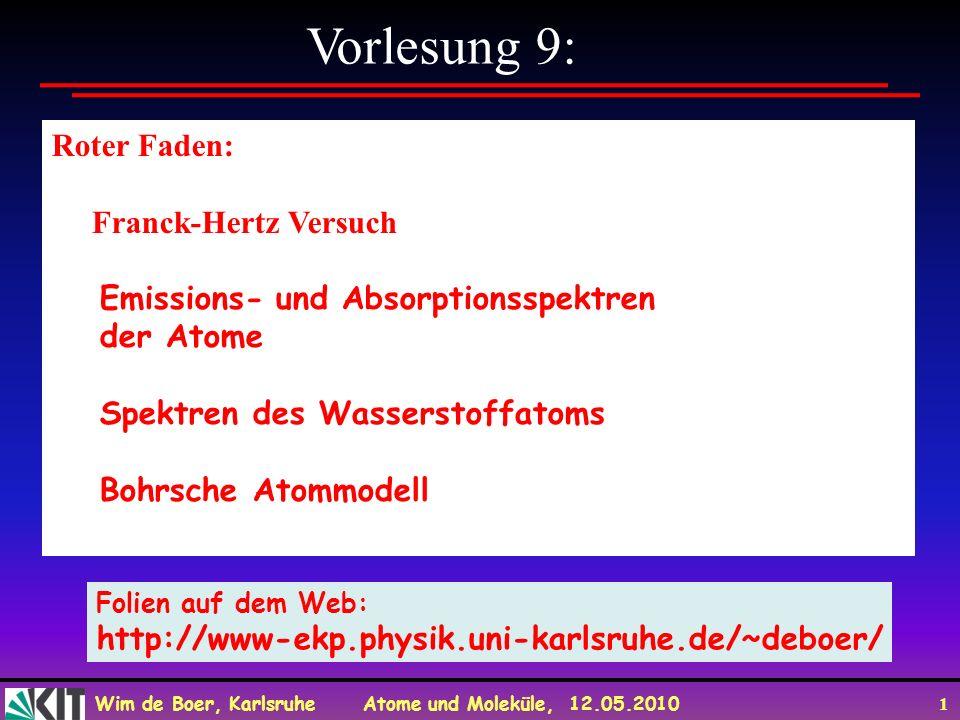 Wim de Boer, Karlsruhe Atome und Moleküle, 12.05.2010 1 Vorlesung 9: Roter Faden: Franck-Hertz Versuch Emissions- und Absorptionsspektren der Atome Sp