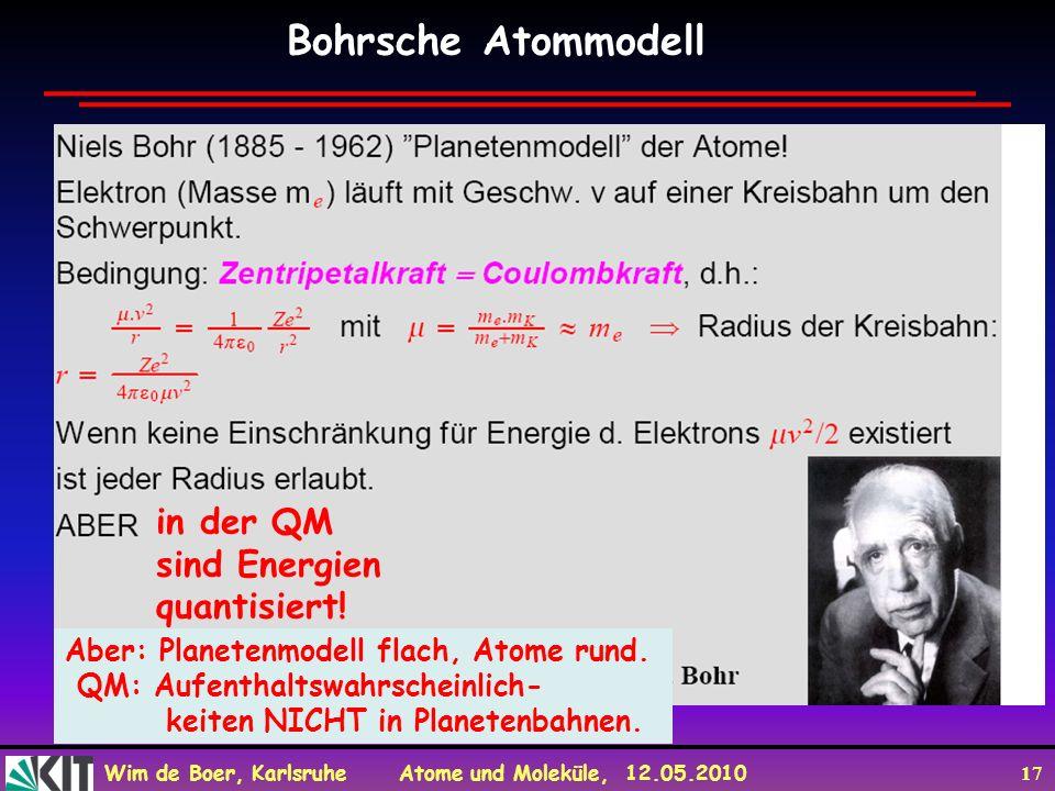 Wim de Boer, Karlsruhe Atome und Moleküle, 12.05.2010 17 Bohrsche Atommodell in der QM sind Energien quantisiert! Aber: Planetenmodell flach, Atome ru