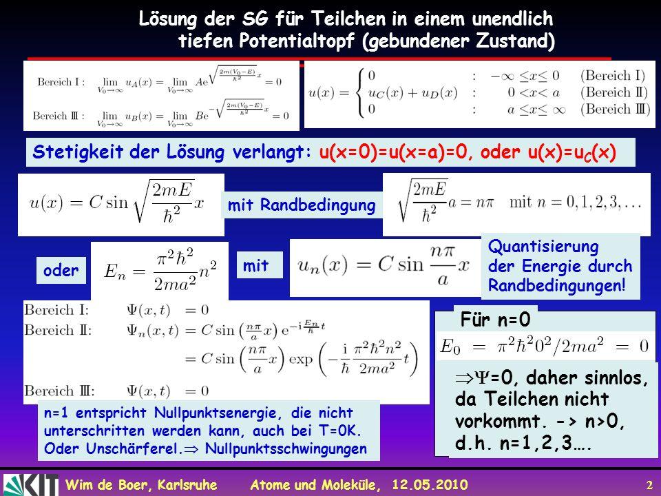 Wim de Boer, Karlsruhe Atome und Moleküle, 12.05.2010 2 Lösung der SG für Teilchen in einem unendlich tiefen Potentialtopf (gebundener Zustand) Stetig
