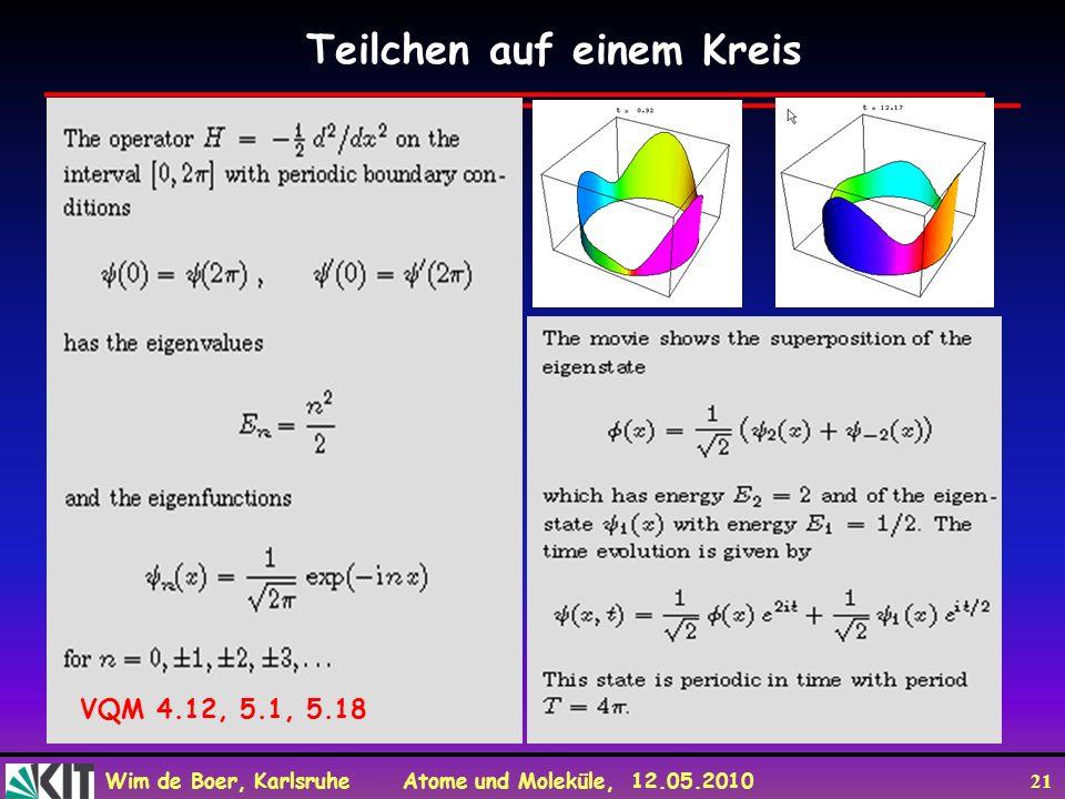 Wim de Boer, Karlsruhe Atome und Moleküle, 12.05.2010 21 Teilchen auf einem Kreis VQM 4.12, 5.1, 5.18