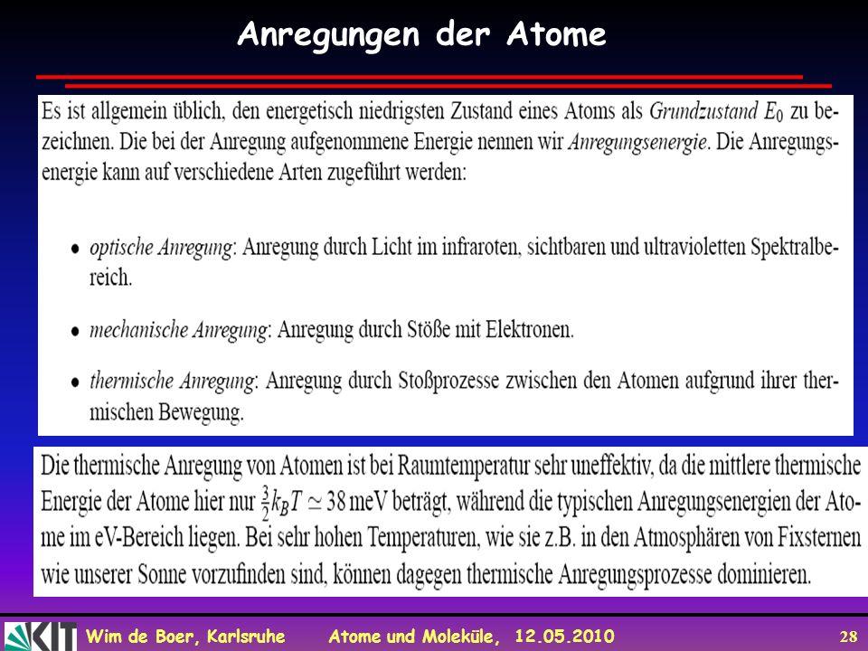 Wim de Boer, Karlsruhe Atome und Moleküle, 12.05.2010 28 Anregungen der Atome