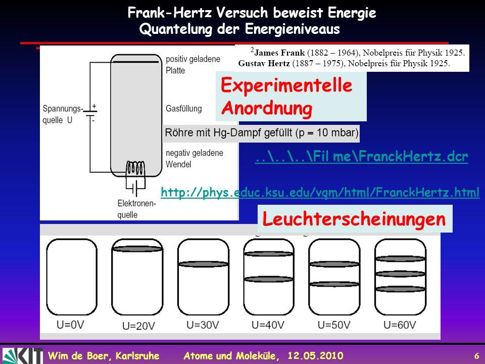Wim de Boer, Karlsruhe Atome und Moleküle, 12.05.2010 6 Frank-Hertz Versuch beweist Energie Quantelung der Energieniveaus Experimentelle Anordnung Leu