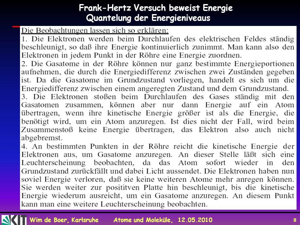 Wim de Boer, Karlsruhe Atome und Moleküle, 12.05.2010 29 Zum Mitnehmen Quantisierung der Energien der Atome aus Spektrallinien und Franck-Hertz Versuch Bohrsche Atommodell erklärt Quantisierung der Spektren durch Quantisierung der Drehimpulse.
