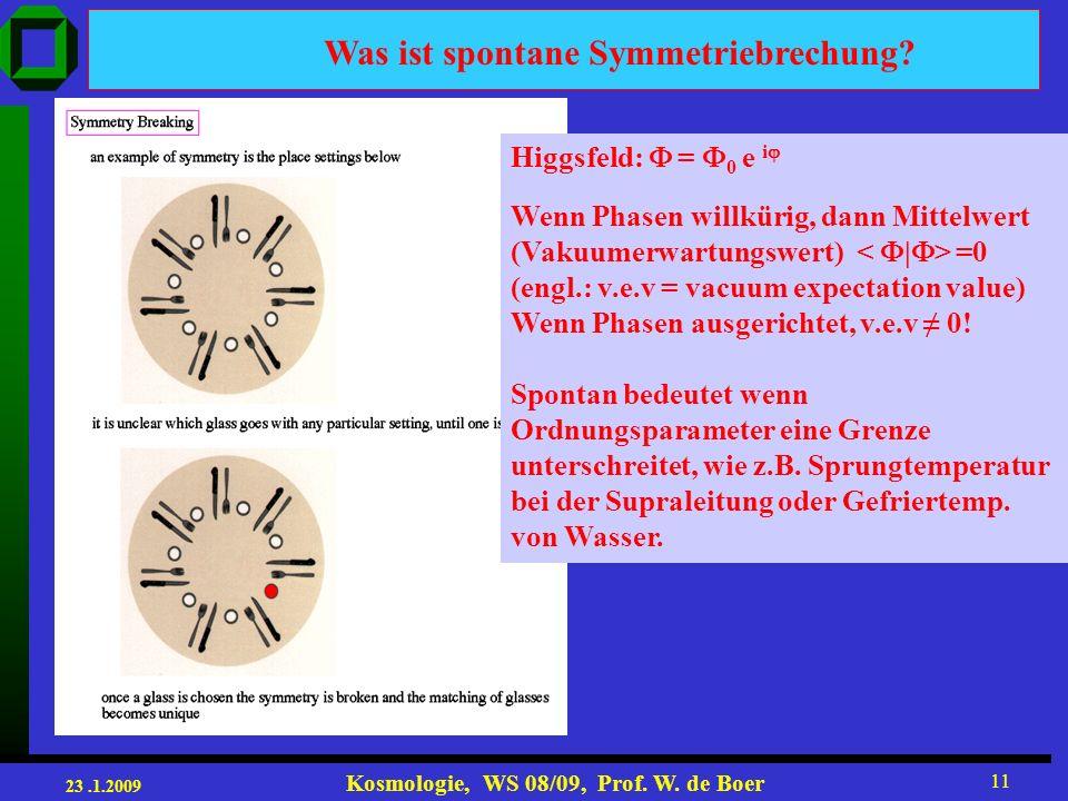23.1.2009 Kosmologie, WS 08/09, Prof.W. de Boer 11 Was ist spontane Symmetriebrechung.