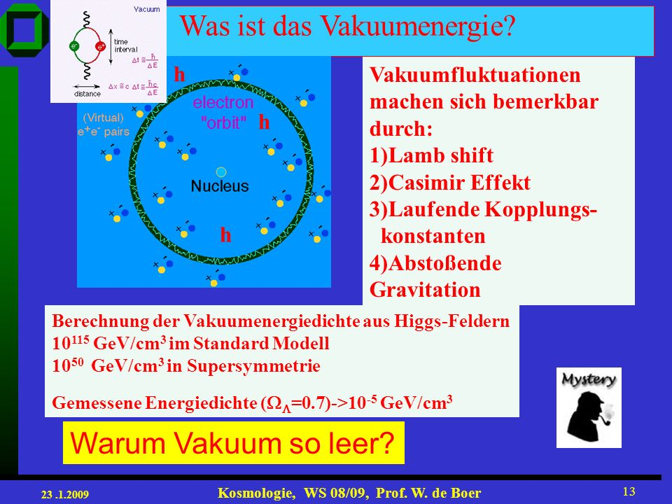 23.1.2009 Kosmologie, WS 08/09, Prof.W. de Boer 13 Warum Vakuum so leer.