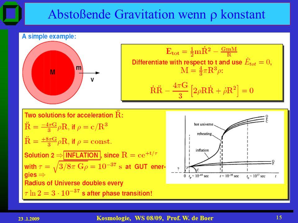 23.1.2009 Kosmologie, WS 08/09, Prof. W. de Boer 15 Abstoßende Gravitation wenn konstant