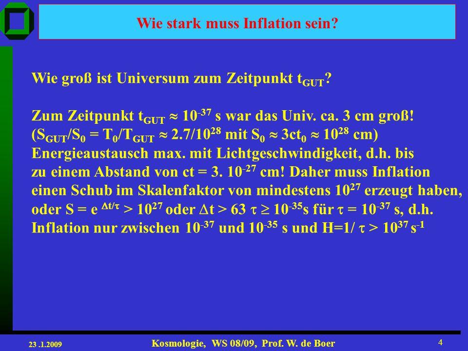 23.1.2009 Kosmologie, WS 08/09, Prof.W. de Boer 4 Wie stark muss Inflation sein.