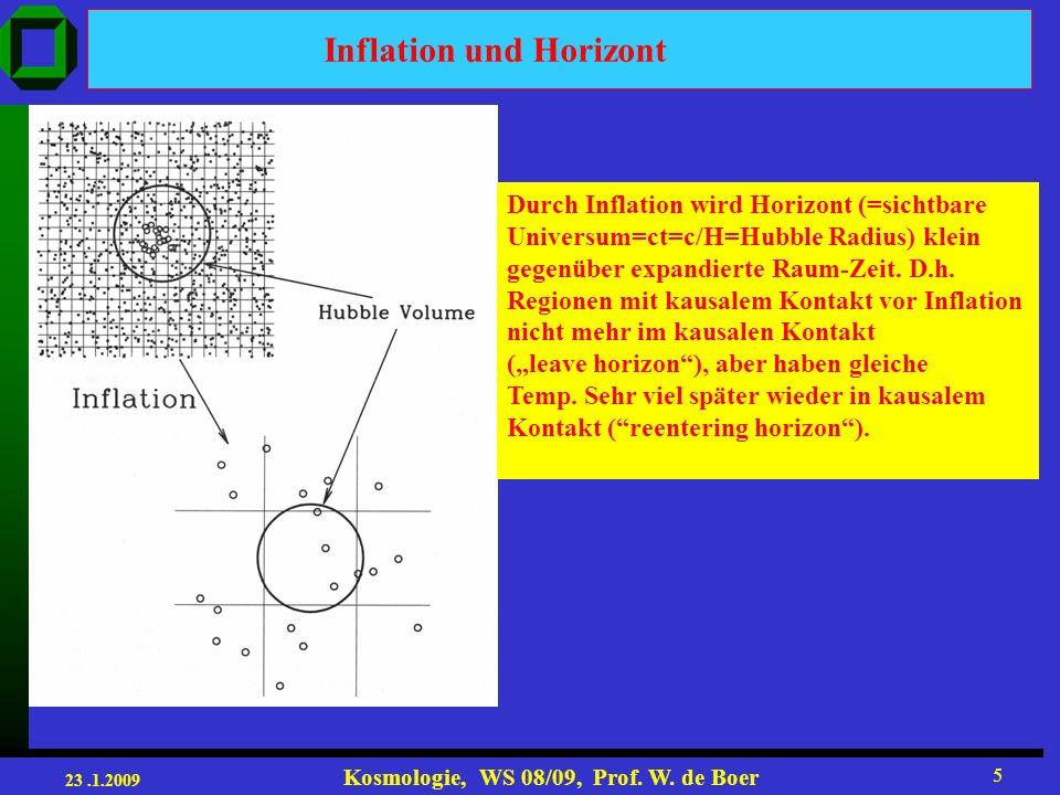 23.1.2009 Kosmologie, WS 08/09, Prof. W. de Boer 26 Energieerhaltung aus Friedmann Gl. (1) (2)