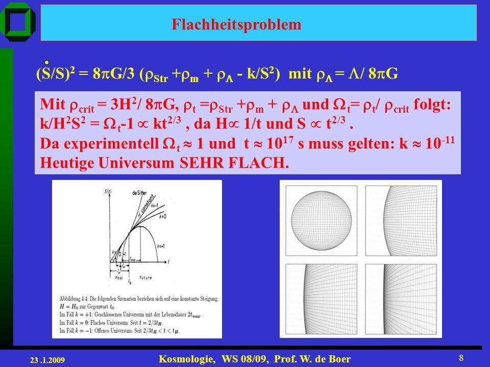 23.1.2009 Kosmologie, WS 08/09, Prof. W. de Boer 19 possible evolution of the universe