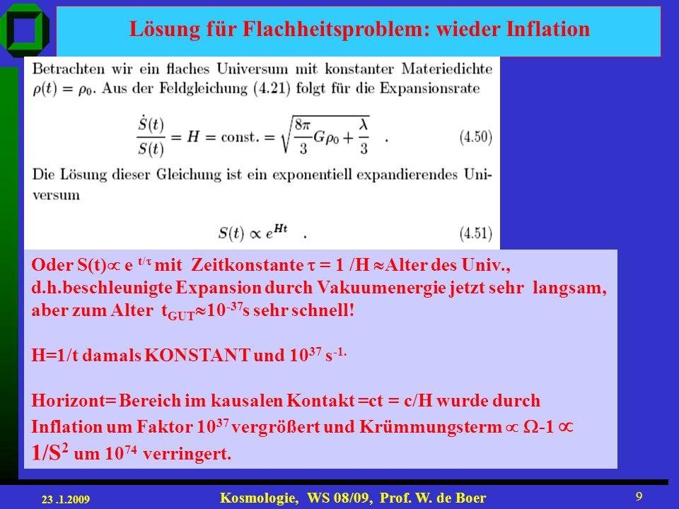 23.1.2009 Kosmologie, WS 08/09, Prof. W. de Boer 30 Inflationspotentiale