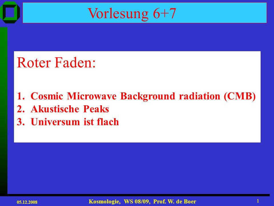 05.12.2008 Kosmologie, WS 08/09, Prof.W. de Boer 21 The young Universe was fantastically bright.