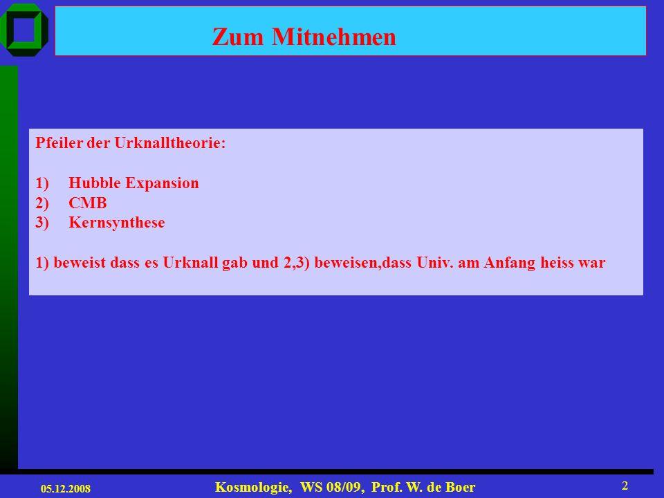 05.12.2008 Kosmologie, WS 08/09, Prof. W. de Boer 1 Vorlesung 6+7 Roter Faden: 1.Cosmic Microwave Background radiation (CMB) 2.Akustische Peaks 3.Univ
