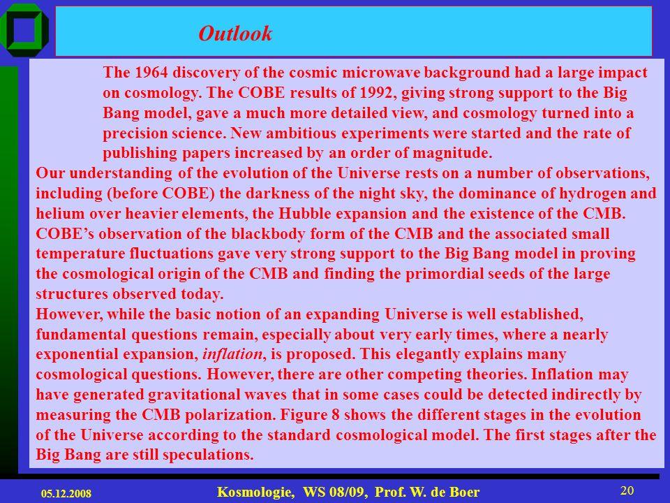05.12.2008 Kosmologie, WS 08/09, Prof. W. de Boer 19 The DMR instrument (Smoot et al. 1990) measured temperature fluctuations of the order of 10 -5 fo