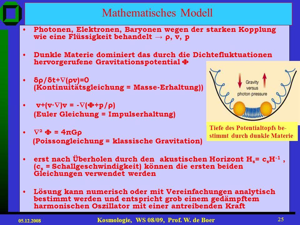 05.12.2008 Kosmologie, WS 08/09, Prof. W. de Boer 24 Lösung: Druck gering: δ=ae bt, d.h. exponentielle Zunahme von δ (->Gravitationskollaps) Druck gro