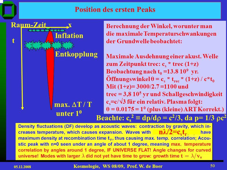 05.12.2008 Kosmologie, WS 08/09, Prof. W. de Boer 49 Temperaturschwankungen als Fkt. des Öffnungswinkels Θ 180/l