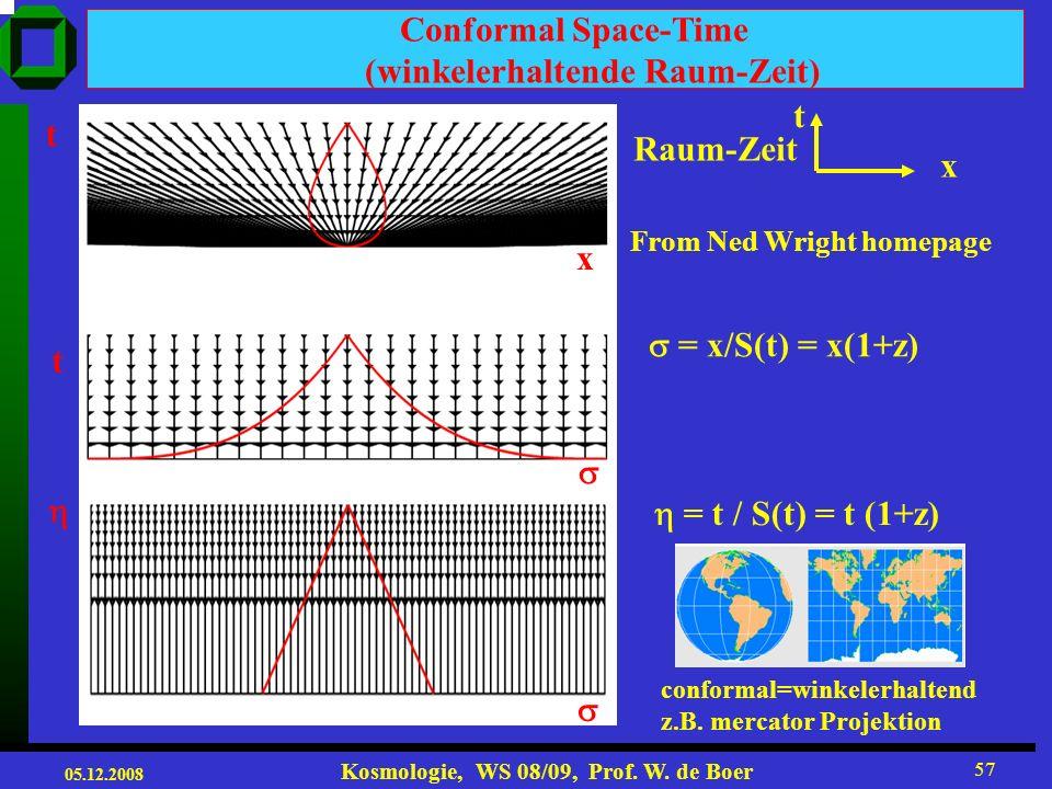 05.12.2008 Kosmologie, WS 08/09, Prof. W. de Boer 56 2% atoms 4% atoms 8% atoms Low pitchHigh pitch Long wavelengthShort wavelength Atomic content of