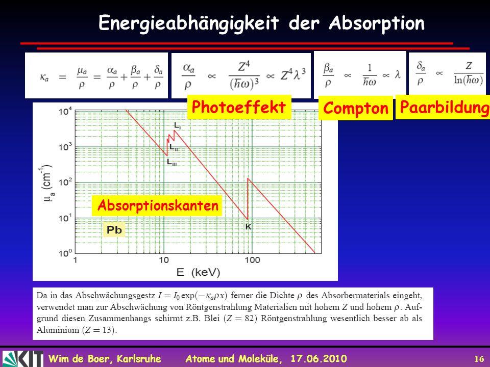 Wim de Boer, Karlsruhe Atome und Moleküle, 17.06.2010 16 Energieabhängigkeit der Absorption Photoeffekt Compton Paarbildung Absorptionskanten