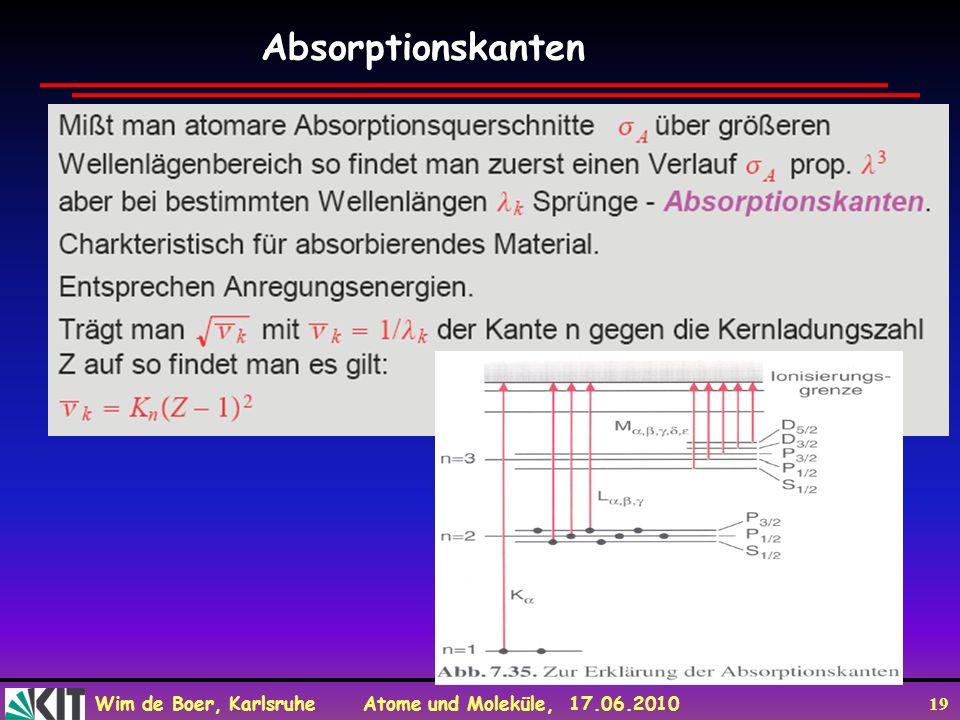 Wim de Boer, Karlsruhe Atome und Moleküle, 17.06.2010 19 Absorptionskanten
