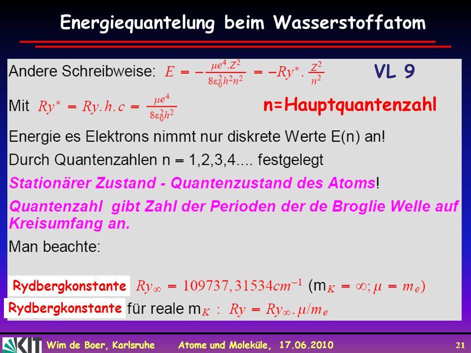 Wim de Boer, Karlsruhe Atome und Moleküle, 17.06.2010 21 Energiequantelung beim Wasserstoffatom n=Hauptquantenzahl Rydbergkonstante VL 9