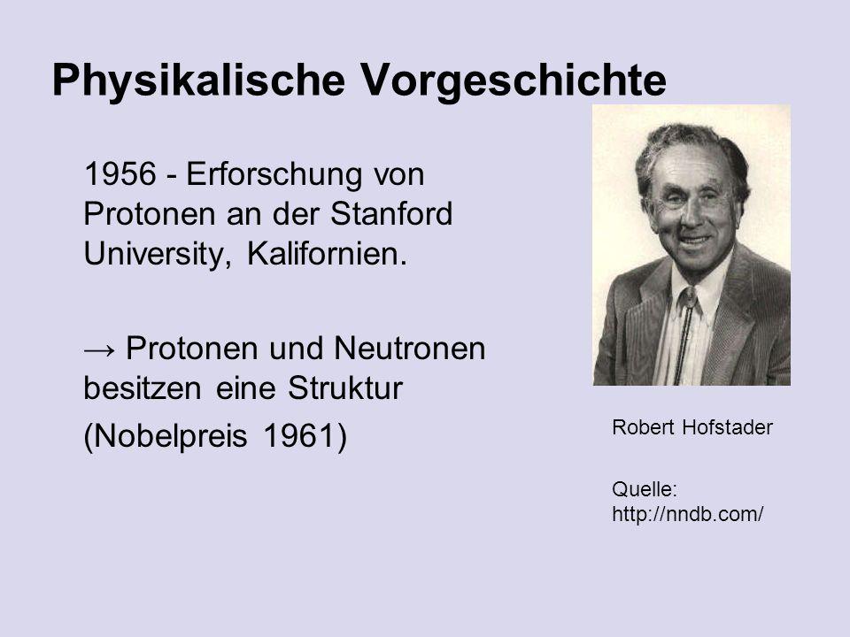 Physikalische Vorgeschichte 1956 - Erforschung von Protonen an der Stanford University, Kalifornien.