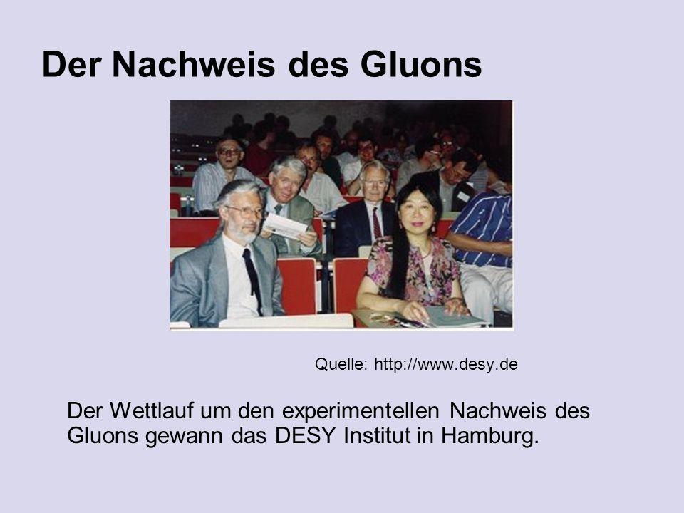 Der Nachweis des Gluons Quelle: http://www.desy.de Der Wettlauf um den experimentellen Nachweis des Gluons gewann das DESY Institut in Hamburg.