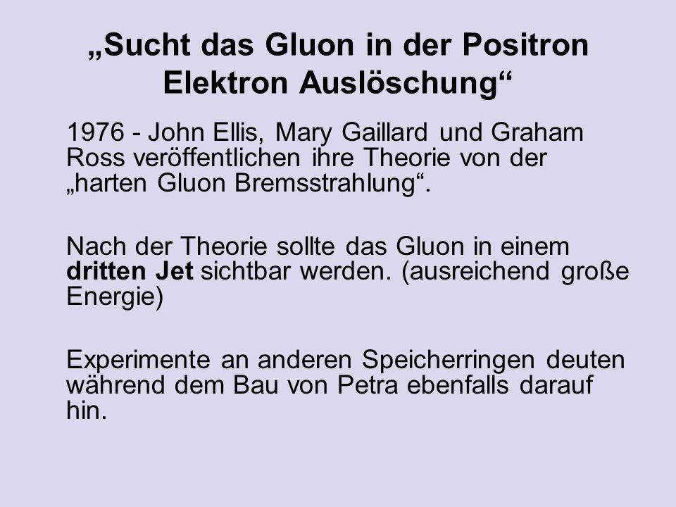 Sucht das Gluon in der Positron Elektron Auslöschung 1976 - John Ellis, Mary Gaillard und Graham Ross veröffentlichen ihre Theorie von der harten Gluon Bremsstrahlung.